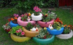 Used Tire Planters | La pratica del riciclo si sposa benissimo con il giardinaggio ! Chi ...