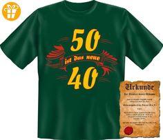 Exklusives und originelles Geschenk zum 50. Geburtstag! 50 ist T-Shirt mit Geburtstagsurkunde! Gr: 3XL Farbe: dunkelgrün - Shirts zum 50 geburtstag (*Partner-Link)