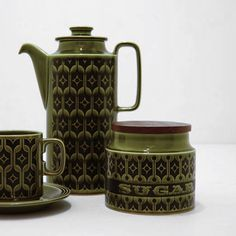 HORNSEA 'Heirloom' in Lakeland Green - 'SUGAR' - S Canister - designed by John Clappison, Made in England, 1970's. - available @ le-grenier.com
