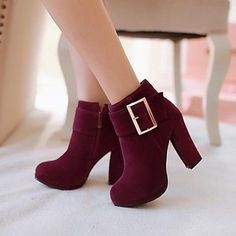 Round Toe Chunky Heel Ankle Boots
