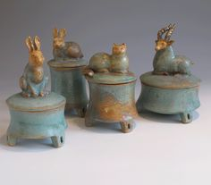 Margaret Wozniak Ceramics Like the feet on the boxes.  And, of course, the rabbit