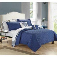 Pandora 9-Piece Bedding Quilt in Bag, Blue