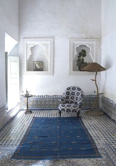 Fez, Morocco, blue and white, cooling effect. tiles on the wall are left quite low, interesting and good effect