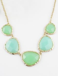 Green Gemstone Gold Geometric Chain Necklace US$7.34