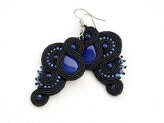 Black navy blue casual soutache earrings long elegant evening