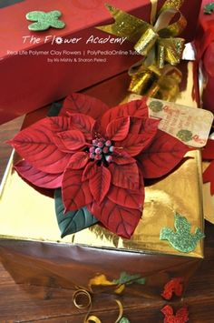 Polymer clay life like flowers tutorial - Poinsettia project http://www.polypediaonline.com/polymer-clay-tutorials-life-like-flowers-polypediaonline.html