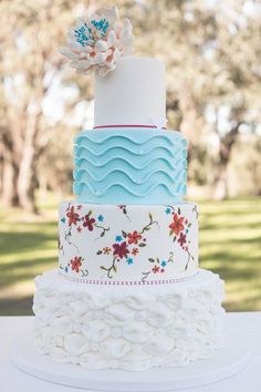 Pretty Patterned & Textured Four-Tiered Cake