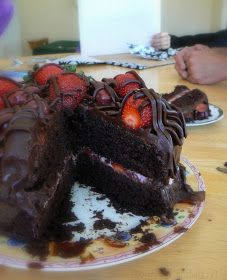 MIH Recipe Blog: Chocolate Cherry Strawberry Ganache Cake