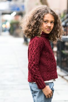 Vika Cabled Pullover with Turtleneck from Brooklyn Tweed Kids