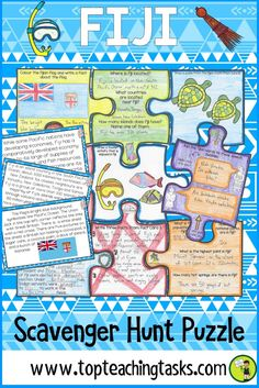 Your students will enjoy the study of the Fiji with our interactive scavenger hunt and puzzle pack. Learn about the geography, history, language, and culture of the Pacific nation of Fiji. Great for Fiji Language Week - 7 October to 13 October 2018, as a social studies product, and in your guided reading program! This helps with differentiated learning. Features summarising, visualising, cloze reading and finding specific details. Suitable for Year Four, Year Five, Year Six.