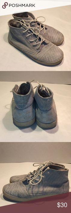 TOMS Paseo High Perforated Whisper Suede Sneaker Size 6.5, color is a bluish gray. TOMS Shoes Sneakers