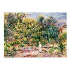 Posterazzi The woman in white in the garden of Les Colettes 1915 Canvas Art - Pierre-Auguste Renoir (36 x 24)