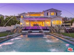 Saltwater pool and fountains in Pacific Palisades, CA.  http://www.estately.com/listings/info/1630-amalfi-drive--2