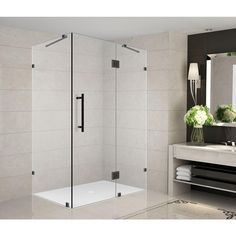 Aston Avalux 35 in. x 32 in. x 72 in. Completely Frameless Shower Enclosure in Oil Rubbed Bronze at The Home Depot - Mobile Square Shower Enclosures, Frameless Shower Enclosures, Frameless Shower Doors, Bathtub Doors, Bath Tub, Shower Tub, Pivot Doors, Walk In Shower Designs, Bath Decor
