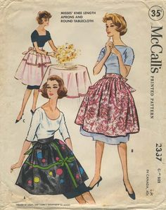 Vintage Apron Sewing Pattern | McCall's 2337 | Year 1959 | One Size | Knee Length Aprons and Tablecloth | Created by Coats and Clark's Department of Design