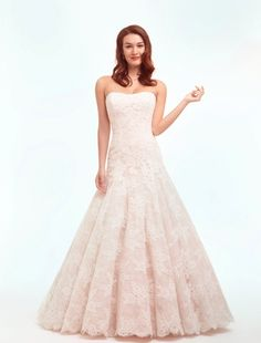Danielle Caprese - Strapless Mermaid Gown in Lace