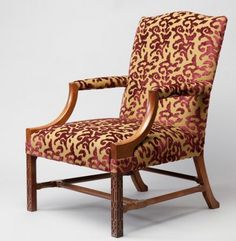 The elegant and comfortable Gainsborough Chair, with show wood legs and arms upholstered in rich velvet This chair is a single 'one off' with the fret work detail to the front legs. Occasional Chairs, Upholstered Furniture, Handmade Furniture, Armchair, Arms, Velvet, Ship, Detail, Elegant