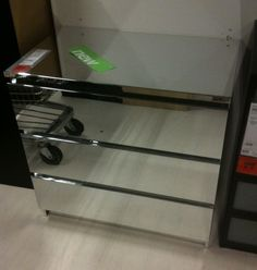 """IKEA """"MALM"""" mirrored dresser!!!  $300 BUT NOT real mirrors but foil.      Hmm, diy inspiration perhaps??"""