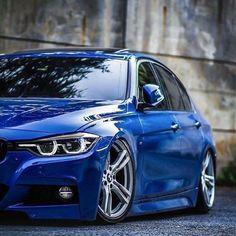 BMW F30 3 series blue slammed