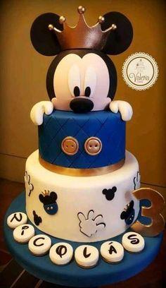 Birthday Cake Kids Boys, Birthday Cake For Him, Baby Birthday Cakes, Baby Boy Cakes, Baby Boy 1st Birthday, Birthday Parties, Birthday Cake Disney, Mickey Mouse Birthday Cakes, 1st Birthday Ideas For Boys