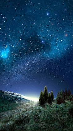 Sapin - Tap to see more beautiful galactical space wallpapers! What A Beautiful World, Beautiful Sky, Beautiful Landscapes, Beautiful Images, Night Sky Stars, Starry Night Sky, Night Skies, Sky Art, All Nature
