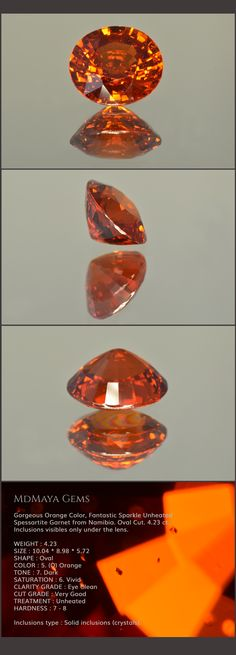 Gorgeous Orange Garnet Spessartite Namibia. Oval Cut. 4.23 ct. Inclusions visibles only under the lens. Loose gemstones for Sale MdMaya Gems