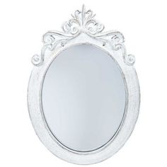 cheep cheap Distressed-23-White-Shabby-Chic-Vanity-Styrene-Ornate-Oval-Mirror