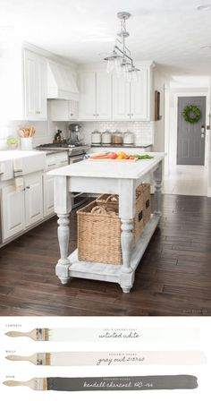 New England Farmhouse Neutral Paint Color Scheme | Farmhouse Kitchen with Cabinets painted with Insl-X Cabinet Coat.