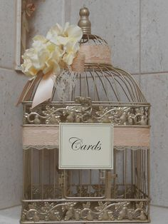 Could total make this for like $20-30 instead of the  70 they are asking...Wedding Birdcage Cardholder / Champagne Gold by YesMoreFunk, $70.00