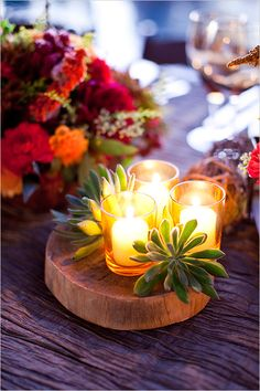 Use Succulents as Table Decor: 10 Awesome Ideas to Host the Best Summer BBQ Ever - mom. Wood Centerpieces, Succulent Centerpieces, Wedding Table Decorations, Decoration Table, Centrepieces, Spanish Party Decorations, Mexican Wedding Centerpieces, Succulent Table Decor, Wood Slab Centerpiece