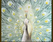 Amazing oil painting of a peacock. I love the pastel colors instead of the traditional blues and yellows.  Original Peacock Oil Painting Contemporary Modern Animal Art 20X24 by Willson Lau