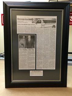 Newspaper Article(After) Custom Framing