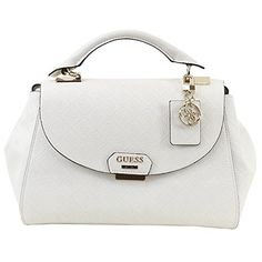 17797bb8c8a6 Amazon.com  Guess Women s Shantal Bone Signature Embossed Flap-Over Satchel  Handbag  Clothing