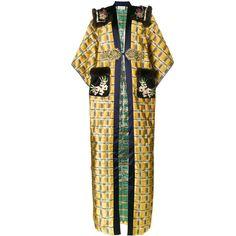 Gucci floral embroidered kimono coat ($16,680) ❤ liked on Polyvore featuring outerwear, coats, jackets, leather-sleeve coats, kimono coat, orange coat, yellow coat and yellow kimono