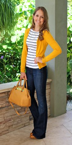 Mustard cardigan, navy striped shirt, bootcut jeans. For casual Fridays!