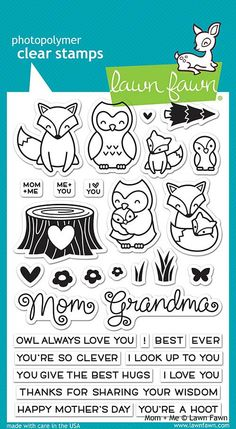 "LAWN FAWN: Mom + Me (4"" x 6"" Unmounted Clear Acrylic Stamp Set) You'll have a hoot with this set of clear stamps featuring a mama fox, owl, babies, a tree stump, and lots of matching sentiments that p"