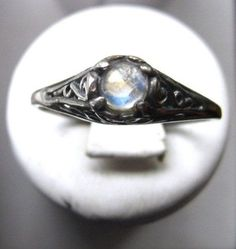 Tiny Rainbow Moonstone Handmade Ring by GriffinsNestJewelry