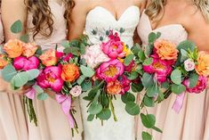 Purple Wedding Flowers Beautiful Summer Winery Wedding, Wedding Inspiration, Wedding Bouquets with Shades of Pink, Orange, and Greenery. Soft Blush Bridesmaid Dresses Complement Bright Colors in Florals. By KyAnn Raye Photography. Orange And Pink Wedding, Bright Wedding Colors, Orange Wedding Flowers, Beach Wedding Flowers, Summer Wedding Colors, Bright Colors, Orange Pink, Bright Flowers, Purple Wedding