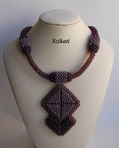 Beaded Eggplant Pendant Necklace Seed Bead Necklace by Szikati