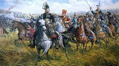 """""""Waterloo: Marshal Ney charging at the head of the French Cuirassiers"""", Mark Churms Waterloo 1815, Battle Of Waterloo, Le Colonel Chabert, Napoleon French, Bataille De Waterloo, War Film, Film Inspiration, French Army, Napoleonic Wars"""
