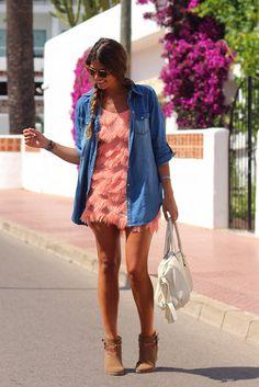 Trendy Taste: denim shirt, coral dress and boots