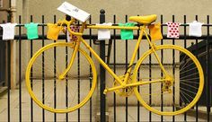Yellow bikes in Harrogate mark the start of the Tour de France that will start in Yorkshire this year Knitted Bunting, Yorkshire Towns, Happiest Places To Live, Tour Of Britain, Get In The Mood, Tours, Biker Chick, Sports Pictures, Craft Supplies