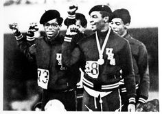 "Lee Evans, Ron Freeman, Larry James and Vince Matthews on the victor's stand 1968 for the 400-meter relay giving ""black power"" symbol. <3"