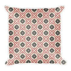 CHINESE GEOMETRIC PATTERN (CREAM, GRAY, RED) PILLOW