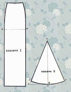 Tablas con godets añadidos, o quillas:Procederemos como en la falda de godets, separando la falda por paños, pero la parte ampliada en el bajo se añade cortada con la altura que deseemos y una amplitud aproximada de 30 cm. aunque pueda variar según gusto.