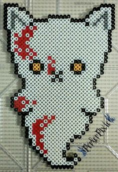 Bloody Ghost Kitty - Halloween perler beads by PerlerPixie