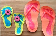 Summer Kids Craft Footprint Flip Flops is part of Summer crafts Preschool - SavingSaidSimply com EASY Summer Kids Craft Footprint Flip Flops Summer Crafts For Kids, Summer Kids, Projects For Kids, Art For Kids, Summer Crafts For Preschoolers, Craft Projects, Craft Blogs, August Kids Crafts, Kids Fun