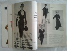 Vogue Pattern Book, October-November 1952 featuring Vogue Paris Original 1186 by Jacques Fath (on the left page), 1192 by Patou, 1193 by Jacques Griffe and 1190 by Paquin