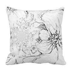 Floral Black & White Throw Pillow