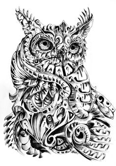 Observer Abstract interpretation of the Great Horned Owl Black ball point pen | App. 3.5 Hours. Larger View. My Art Blog. | My Abstract/Illustrative Animals Series.